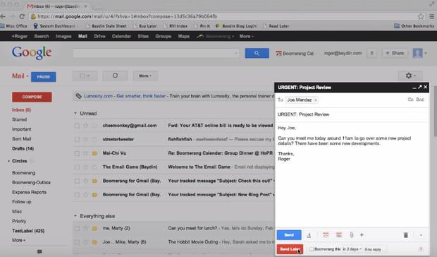 Boomerang programme l'envoie des e-mails mais aussi les suivis