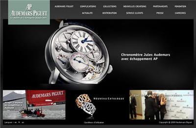 la page d'accueil du site d'audemars piguet