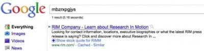 google a manuellement fait correspondre une requête farfelue au site de rim.