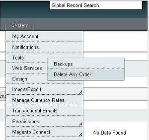 deleteanyorder permet de supprimer des commandes facturées du back office.son