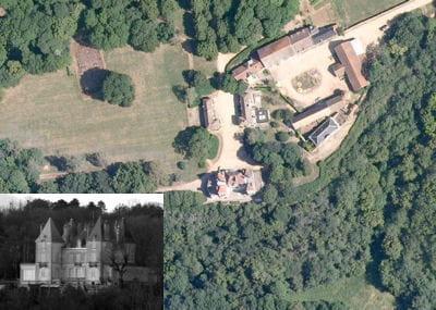 une vue aérienne du château de gouville.