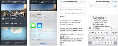 captures d'écran de la fonction de partage d'itinéraire de l'application mobile