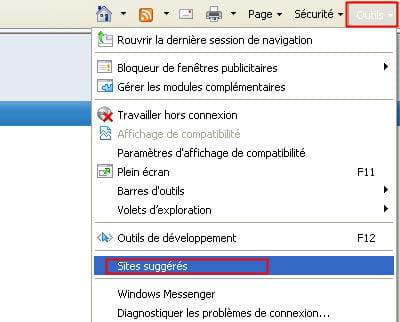 l'option pour activer la suggestion de sites par internet explorer
