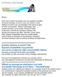exemple de newsletter mobile d'experian marketing services - cheetahmail