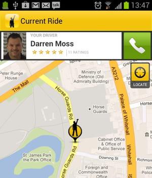 quand le taxi accepte de prendre une course, il peut géolocaliser son client et