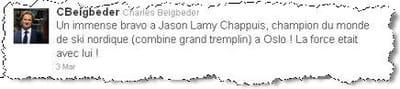 son tweet pour féliciter jason lamy.
