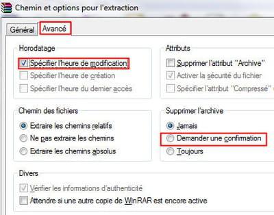 les options avancées d'extraction de fichiers sous winrar.