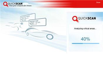 copie d'écran du module bitdefender quickscan.