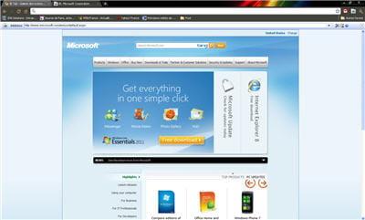 la page d'accueil du site de microsoft ouverte depuis l'extension ie tabs de