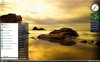 un écran d'accueil sous windows vista