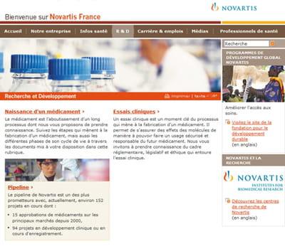 une page du site corporate de novartis
