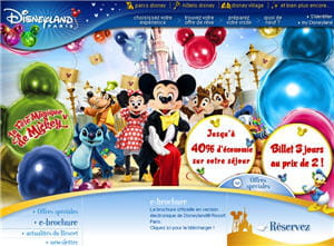 copie d'écran du site de disneyland paris