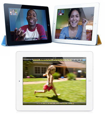 en haut, l'ipad 2 sur l'application facetime, en bas l'ipad 2 en plein
