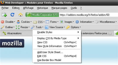 copie d'écran de webdeveloper toolbar