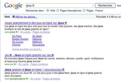 résultats de google pour la requête 'jeux.fr'