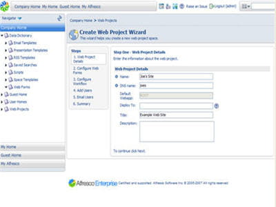 l'interface de la solution alfresco wcm