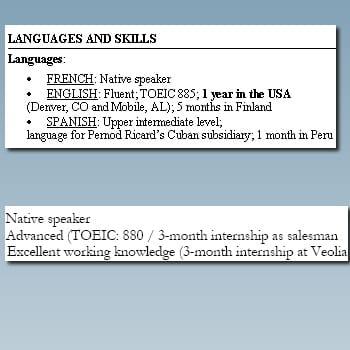 Mettre en avant son niveau de langues