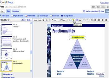 un écran du module de présentation de google document.