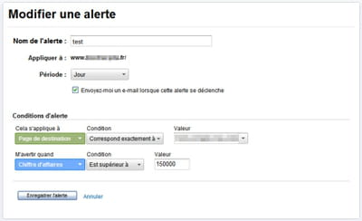 exemple de création d'une alerte personnalisée sous google analytics