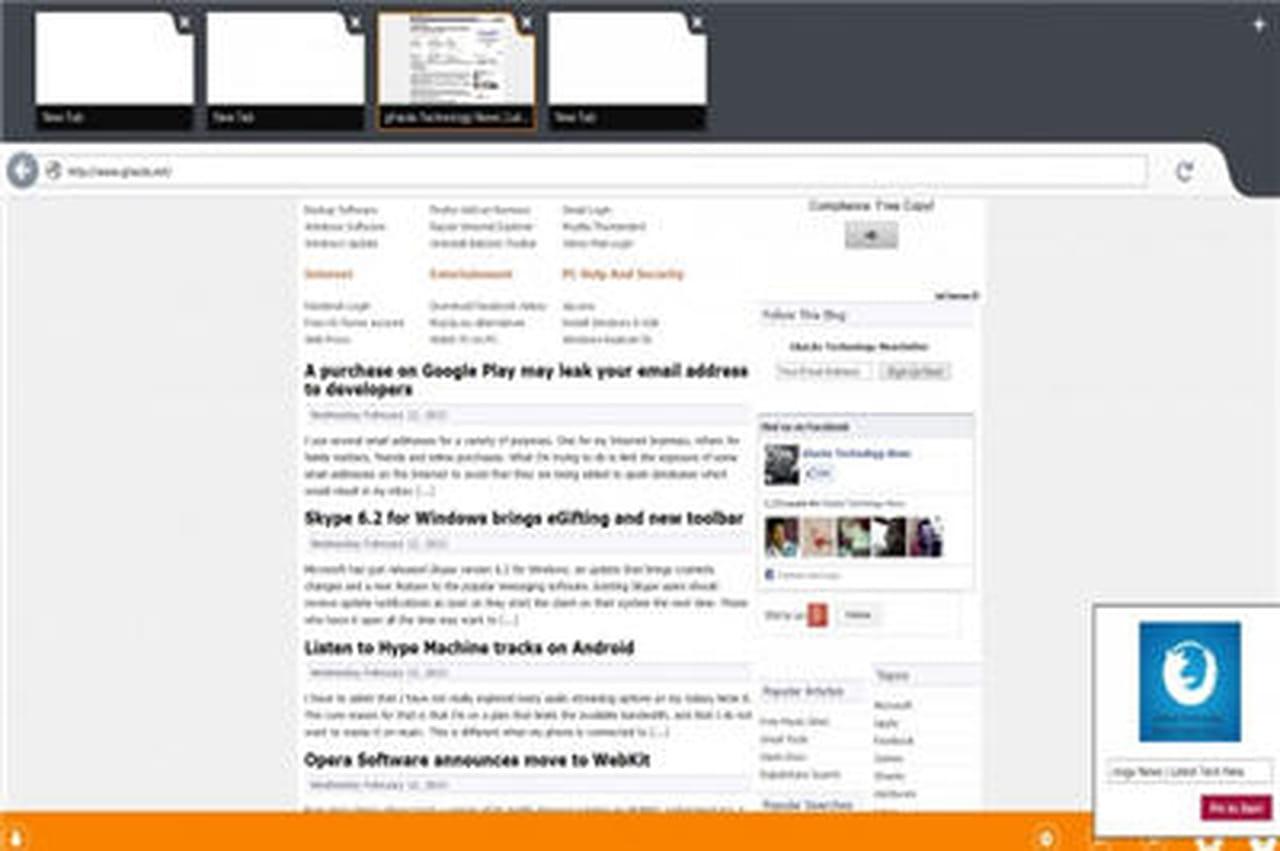 Firefox taill pour l 39 interface tactile windows 8 - Open office en francais pour windows 8 ...