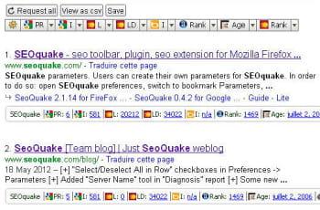 une fois activée, l'extension seoquake fait apparaître de nombreuses