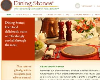 capture de la page d'accueil du site de dinnig stones.