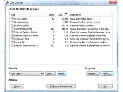 l'interface du logiciel disk cleaner