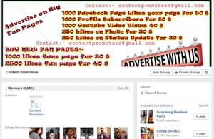 des sites proposent l'achat ou la vente de pages facebook.