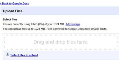 capture d'écran du système permettant d'uploader les fichiers dans chrome os.