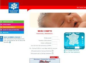 page d'accueil de caf.fr