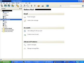 capture d'écran de la page d'accueil sous eudora