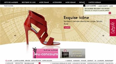 la page d'accueil de l'e-boutique des galeries lafayette