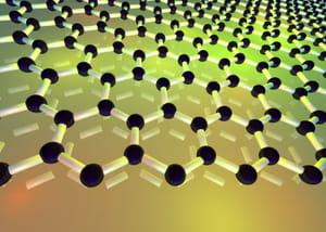 une feuille de graphène, de l'épaisseur d'un seul atome de carbone.
