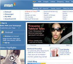 page d'accueil du site msn.com.