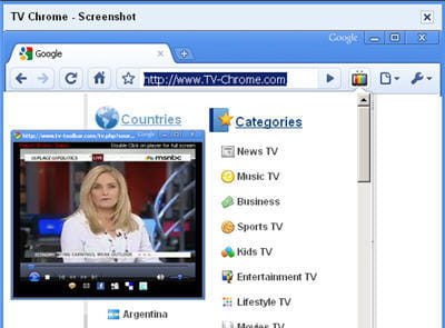 copie d'écran de l'extension tv chrome.