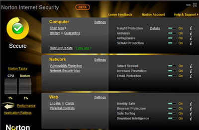 la très chic interface de norton inernet security 2010