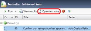 sélectionnez un plan de tests