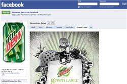 la page de mountain dew sur facebook