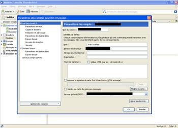 capture d'écran du logiciel thunderbird - option gestion des comptes