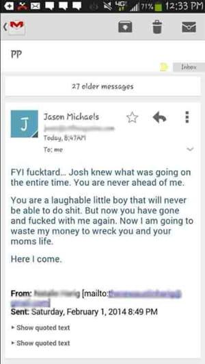 un e-mail envoyé par jason à austin, suite à un conflit.