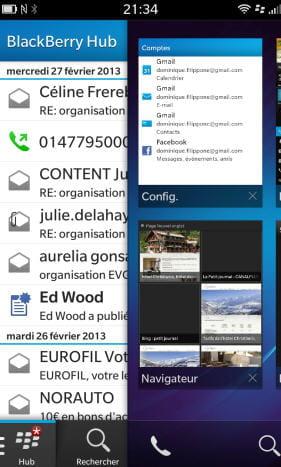le blackberry hub permet de garder facilement un œil sur tous ses messages et