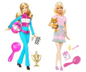 barbie pilote de course et barbie vétérinaire, 16 euros.
