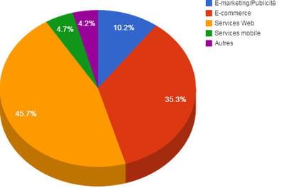répartition des montants investis dans le web français par secteur en 2014.