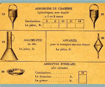 extrait du catalogue de la manufacture de ferblanterie jean lescure.