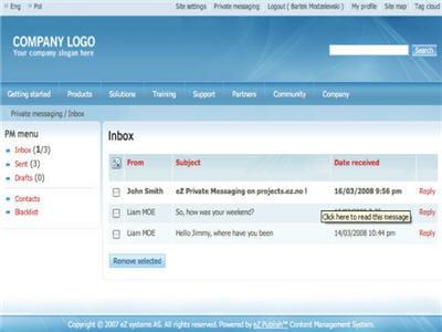 l'interface de la solution ez publish