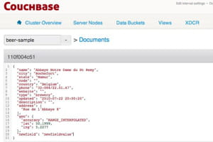 l'édition d'un document json dans la console d'administration de couchbase