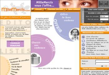 la page d'accueil de la première version de 1000mercis