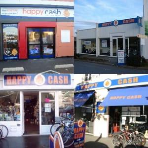 quatre façades de magasin happy cash.
