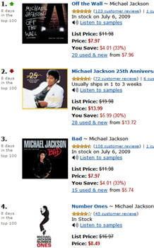 les disques de michael jackson occupent les dix premières places des meilleures
