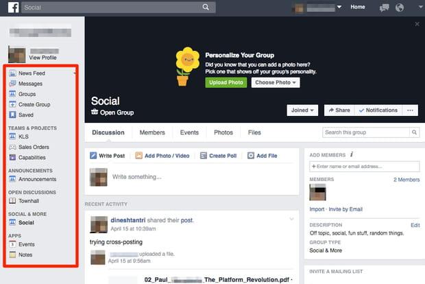 Voici à quoi ressemble un groupe Facebook at Work